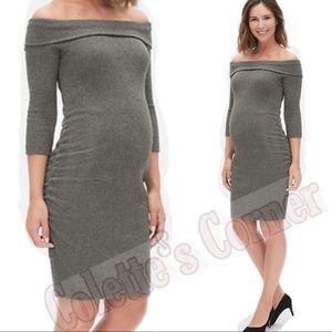 Maternity Ribbed Softspun Off-Shoulder Dress